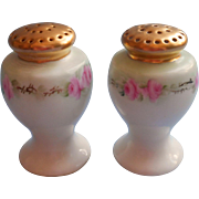 Antique Hand Painted China Salt Pepper Shakers Pink Roses Green Gold