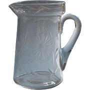 Antique Syrup Pitcher 1910s Butterflies Flowers Engraved Glass
