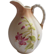 Antique Fuchsia Flowers China Little Pitcher Hand Painted German