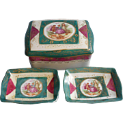 Occupied Japan China Cigarette Box 2 Ashtrays Set French Scene - Red Tag Sale Item