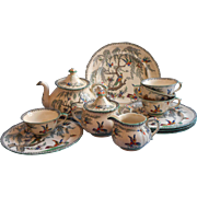 Tea Set Antique Ashworth Koro Transferware China English Teapot Exotic Birds