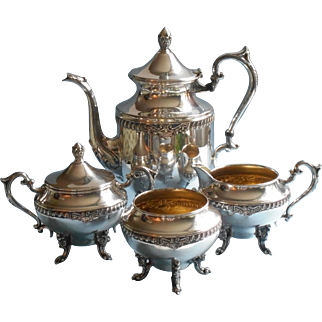 Silver Tea Set High Ornate Legs On Copper Vintage Handsome And Heavy
