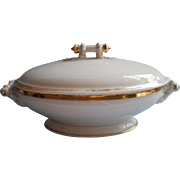 Antique French Haviland Limoges Wedding Ring Covered Serving Dish Gold White Classic