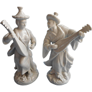 Blanc De Chine Pair Vintage Asian Figures Male Female TLC