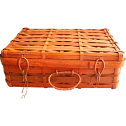 Vintage Split Bamboo Storage Basket Sewing Suitcase Style