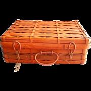 Vintage Split Bamboo Storage Basket Sewing Suitcase Style