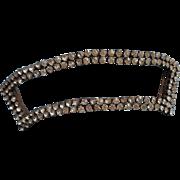 Antique Paste Stones Slide Sash Ribbon Buckle Dress Hat Glass Metal