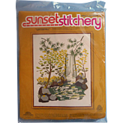 Vintage Needlework Embroidery Kit Unopened Sunset Stitchery Waterfall - Red Tag Sale Item