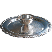 Sea Crest Vintage Silver Dip Chip Pate Cracker Tray Affixed Bowl Oneida