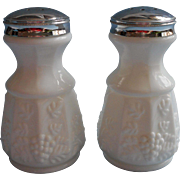 Westmoreland Paneled Grape Milk Glass Large Shakers Original Label Salt Pepper - Red Tag Sale Item