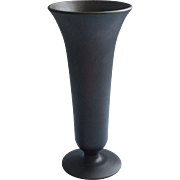 1920s Black Satin Glass Vase Tiffin Simple Shape Silky Acid Finish