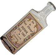 Antique Hair Tonic Bottle Flowered Label in French Phildelphia A. Paladin