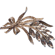 Vintage Coro Large Clear Rhinestone Pin Brooch Bow Signed