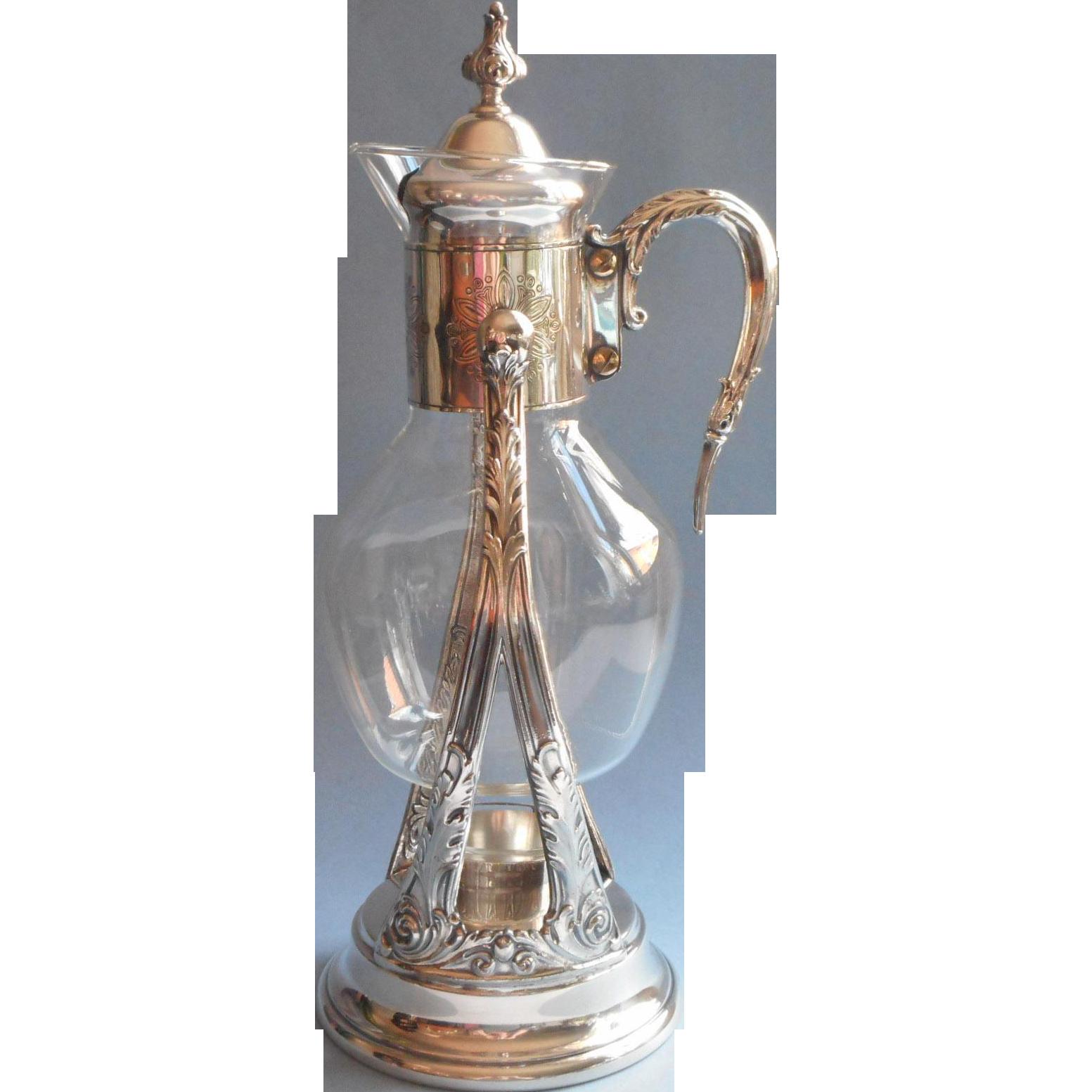 Silver Glass Vintage Coffee Carafe On Tilt Stand Warmer ...