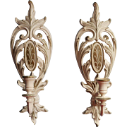 1962 Syroco Pair Candle Sconces Vintage Whitewashed Effect Finish Pair