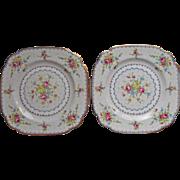 1932 Royal Albert Petit Point Square Tea Plates Vintage Bone China English
