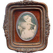 Vintage Plaque French Lady Velvet Molded Wood Fiber