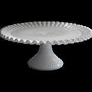 Fenton Cake Pedestal Stand Vintage Milk Glass Hobnail Ruffled Rim Wedding