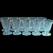 Footed Juice Glasses Engraved Vintage Glass Set 8 Stemware Crystal