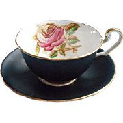 Victoria C and E Matte Black Cup Saucer Pink Roses  Vintage Bone China