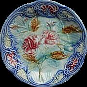 Majolica Plate Antique Pottery Roses Blue Mouzin Lecat Belgium
