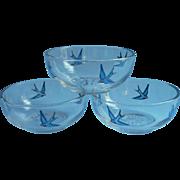 Bluebird Finger Bowls Antique Glass Hand Painted 1910s