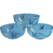 Bluebird Finger Bowls Antique Glass Hand Painted 1910s