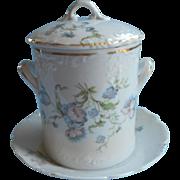 Condensed Milk Jar Under Plate Antique China Austria Blue Flowers