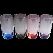Monogram L Glasses Vintage Midcentury Tumblers Pink Blue Smoke Purple