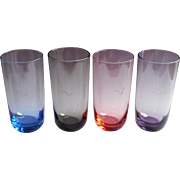Monogram L Glasses Vintage Midcentury Tumblers Pink Blue Smoke Purple