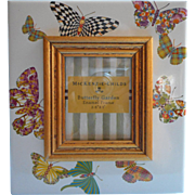 MacKenzie Childs Frame Butterfly Garden Market Enamel Photo Picture - Red Tag Sale Item