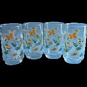 1960s 70s Glasses Tumblers Vintage Libbey Butterflies Daisies