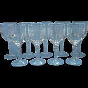 Wine Glasses Set 8 Vintage Etched Handsome Swags Decoration Stemware