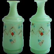 Pair Antique Cologne Bottles Bristol Glass Green Enameled Decoration