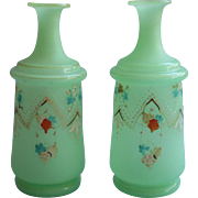 Pair Antique Cologne Bottles Bristol Glass Green Enameled Decoration