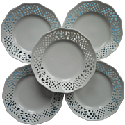Belmonte Dessert Plates 5 Vintage Oscar De La Renta Pierced Rims All White