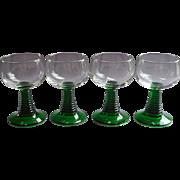 France Roemer Wine Glasses Green Stems Vintage Luminarc