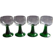 France Roemer Wine Glasses Green Stems Vintage Luminarc