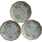 Haviland Limoges Schleiger 261 Saucers Double Gold French China