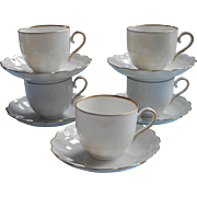 Demitasse Cups Saucers Fine China Porcelain Kaiser Romantica Gold White