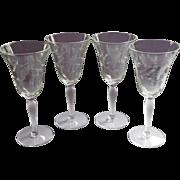 Vintage Wine Glasses Delicate Optic Rib Engraved Flowers