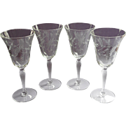 Vintage Wine Glasses Delicate Optic Rib Engraved Flowers