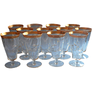 Tiffin Minton Set 12 Gold Encrusted Vintage Iced Tea Footed Glasses Stemware