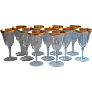 Tiffin Valencia Gold Encrusted Vintage Wine Glasses Stemware