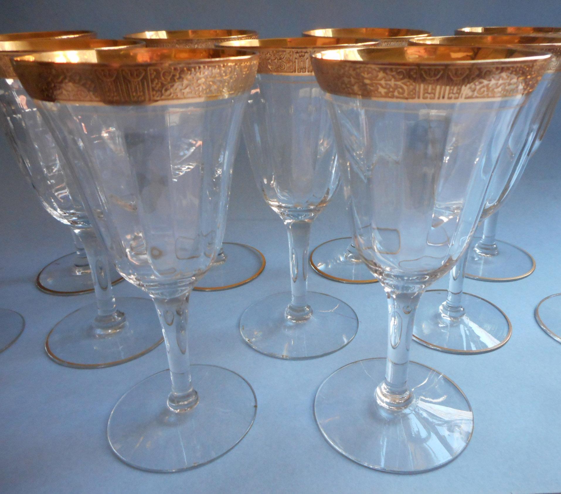 Tiffin valencia gold encrusted vintage wine glasses - Vintage valencia ...