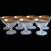 Tiffin  Gold Encrusted Rambler Rose Vintage Coupe Glasses Champagne Cocktail Stemware