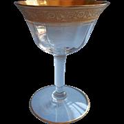 Tiffin  Minton Gold Encrusted Vintage Liquor Cocktail Glass 2 Oz Stemware