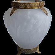 Tiffin 1920s Satin Glass Filigree Mounts Ormolu Vase Large Vintage Poppy Consolidated
