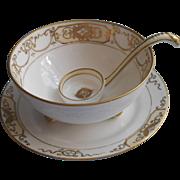Nippon Set Gold White China Mayonnaise Sauce Bowl Ladle Plate Vintage