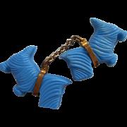 Vintage Plastic Scottie Westie Dog Zipper Pull Decoration Blue Brass Chain Collars